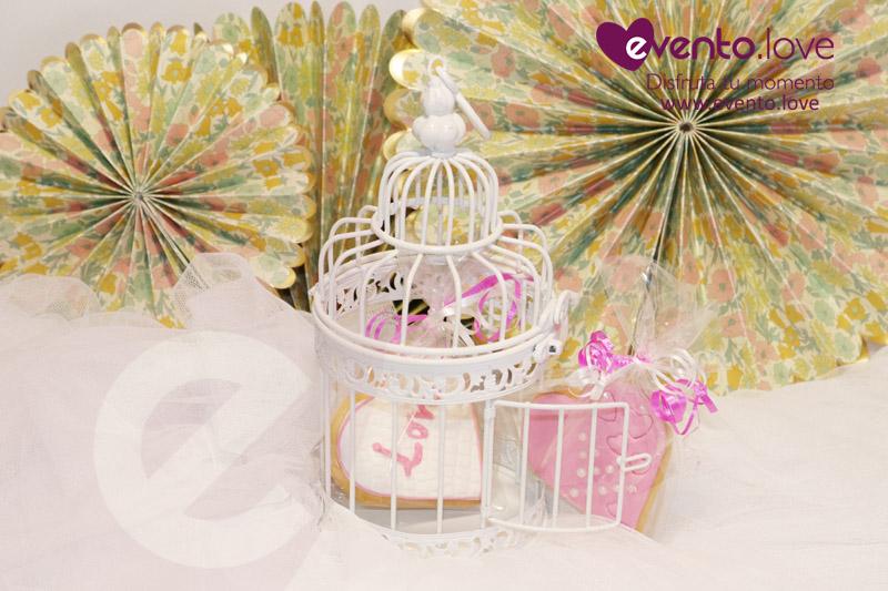 detalles boda galletas rosa blanco corazón amor love jaula