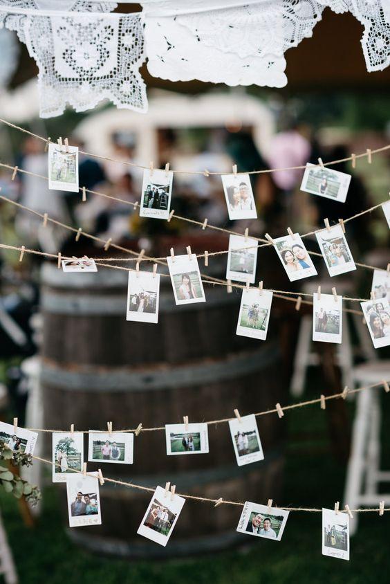 boho chic fotografías fotos colgadas pinzas cordel exterior