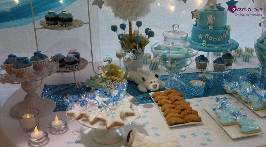 Catering mesa dulce candy bar fiesta Baby Shower bebé azul
