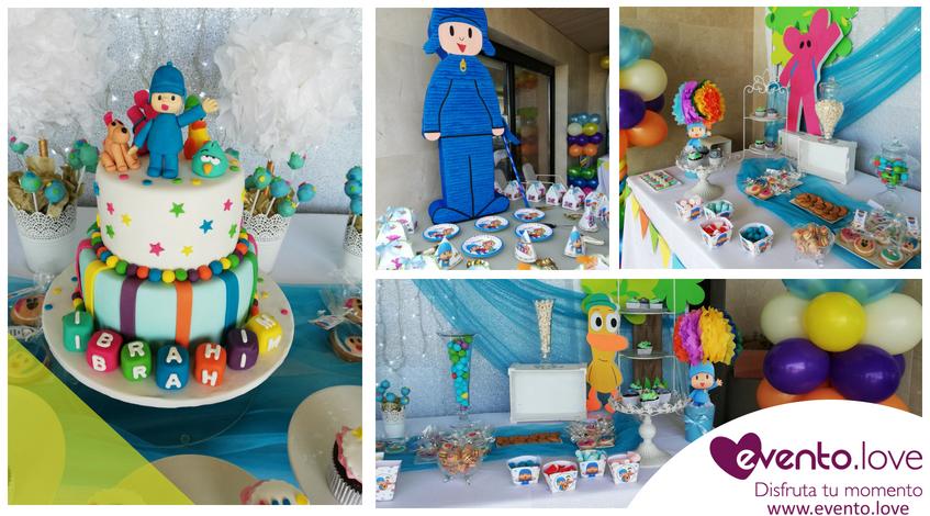 Tarta cumpleaños Ibrahim Pocoyó y sus amigos piñata platos eli globos mesa dulce