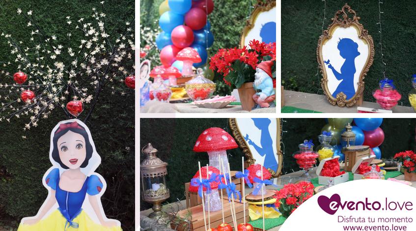 Cumpleaños de Blancanieves para Adriana árbol espejito globos enanitos Madrid mesa dulce