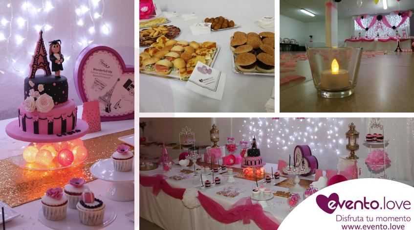 Fiesta de cumpleaños y graduación Madrid velas tarta rosa negro blanco parís torre eiffel mesa dulce catering