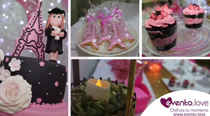 Fiesta de cumpleaños y graduación sorpresa de Lydia Madrid tarta rosa negro parís torre eiffel cupcakes