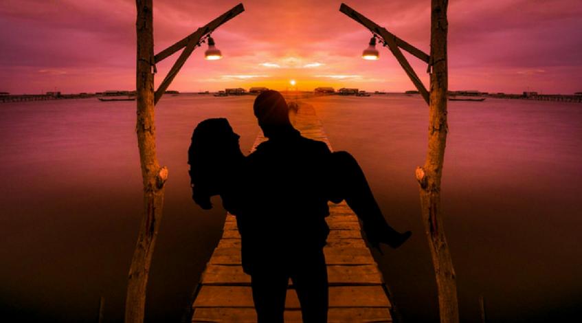 Origen de la luna de miel pareja marido mujer atardecer