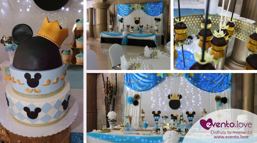 bautizo con mickey mouse Madrid césar azul negro dorado corona rey tarta fondant mesa dulce cakepops
