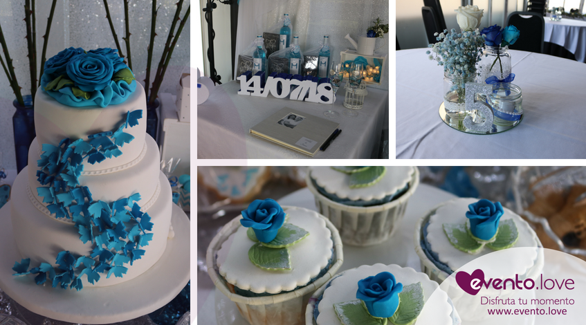 boda con rosas azules enlace tarta mariposas centros de mesa decoración cupcakes madrid