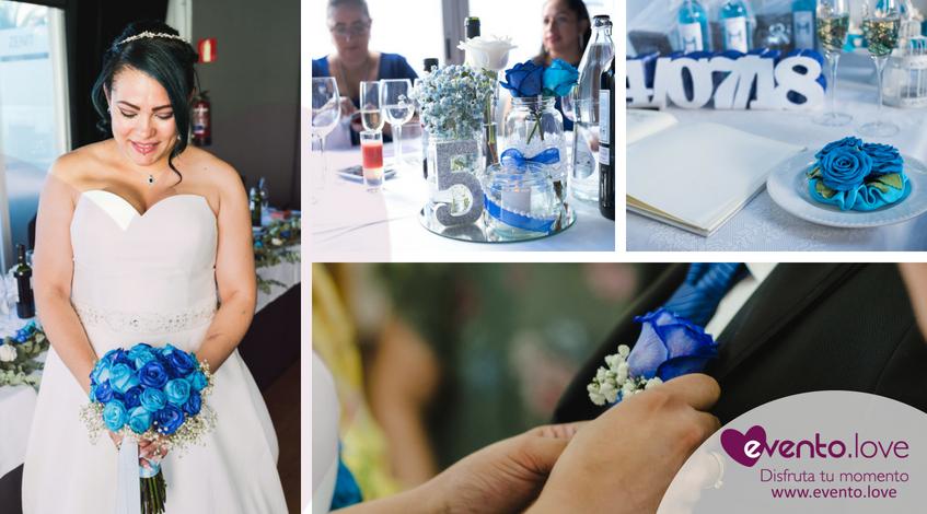 fotos de laboda con rosas azules ramo novia azul vestido blanco nudo corbata novio mesa invitados enlace decoración Madrid