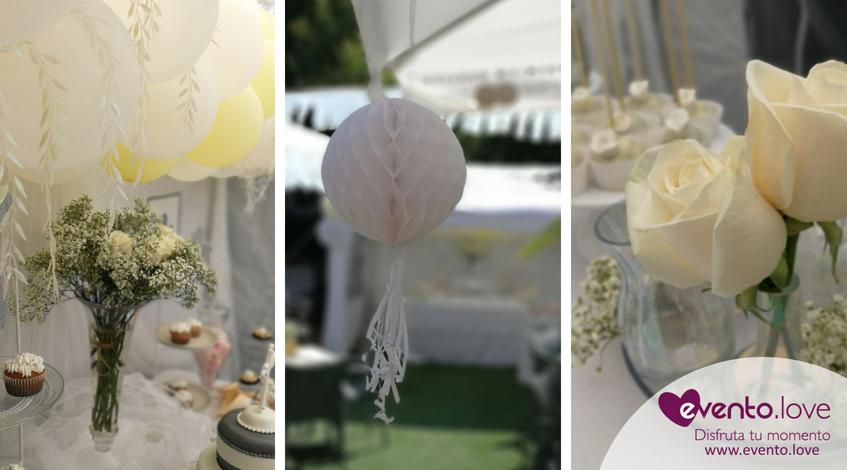 triple celebración en el jardín flores blancas farolillos rosas centros de mesa