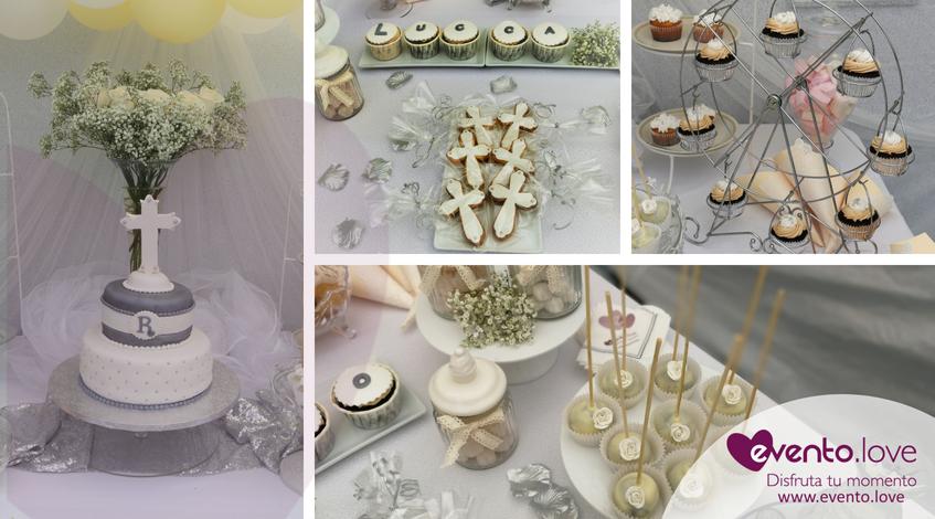 triple celebración en el jardín tarta personalizada comunión cruz galletas temáticas noria cupcakes madrid bautizo bautismo cakepops blanco amarillo