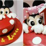 Una espectacular tarta de Mickey y Minnie para su primer cumpleaños