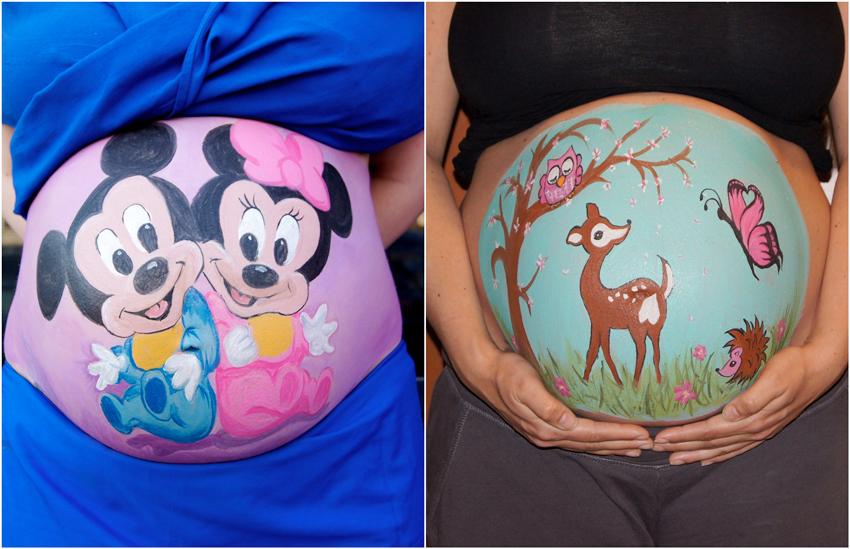 Juegos originales para Baby shower - Belly painting
