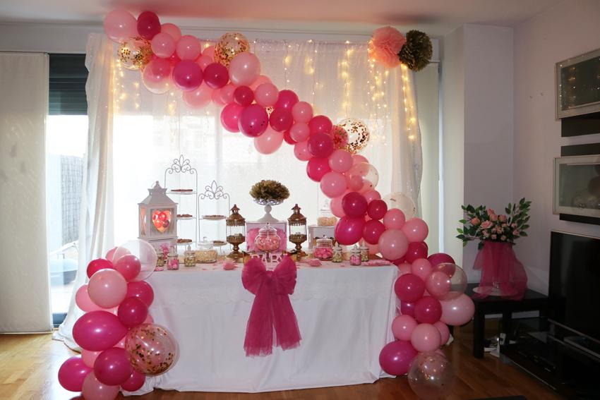 baby shower en rosa y blanco