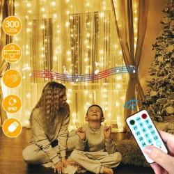 LECLSTAR Cortina de Luces LED USB,3m*3m 300 LED 8 Modos de Luz con Control Remoto y 4 Modo de Música,IP67 Impermeable,Cadena