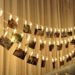 SUNNIOR 20 LED Foto Peg Clip cuerda luz fiesta decoración de la boda  blanco cálido