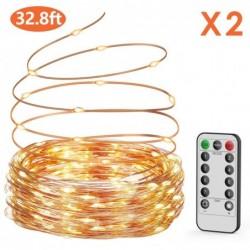 Guirnalda luces pilas【2 * 10M】, OxaOxe 200 LED, Impermeable Cadena de luces con Batería, Mando a distancia con 8 modos, Decor