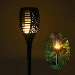 GEYKY Luz Nocturna Solar Powered LED Flame Lamp impermeabile 96LEDs Lawn Flame Flickering Torch Light Outdoor Solar LED luci