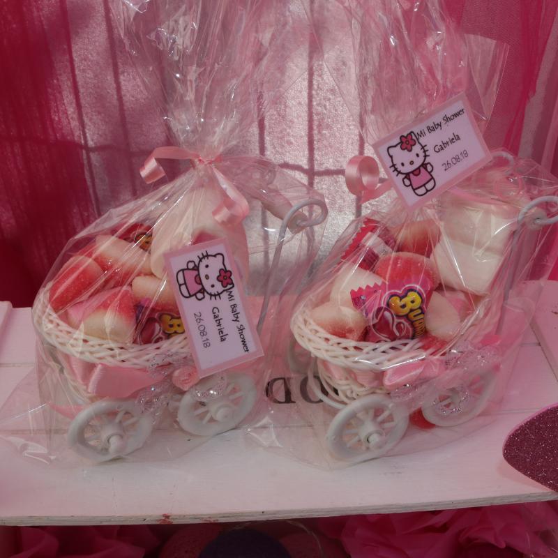 carro chuches chucherías hello kitty rosa detalles invitados baby shower