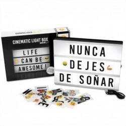 Caja de Luz LED A4 con 105 Letras, 50 Divertidos Emojis y Cable USB | Letra Ñ Incluida | Cartel Luminoso Cinematográfico Idea