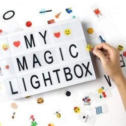 Caja de luz de cine con 170 Letras Cartas, Emojis, Símbolos y Cable USB| DIY A4 LED Light Box| Cartel Luminoso Cinematográfic