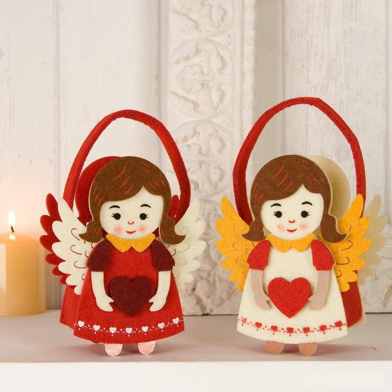 Imagenes De Angelitos Navidenos.Cesta De Navidad Fieltro Angelitos