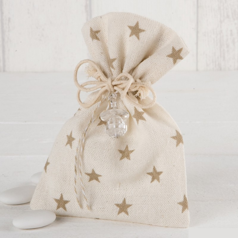 bolsa beige estrellitas detalles invitados babyshower baby shower fiesta bebé Madrid