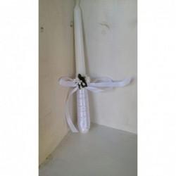Vela bautizo unisex de cera blanca, vela primera comunion,decorada con lazo color blanco y flor .medida altura 25 cm.