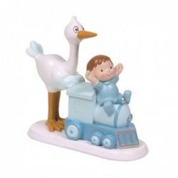Figura Tarta Bautizo Cigüena bebe tren azul