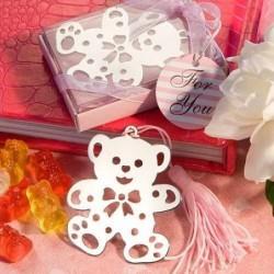 Simpático Osito Punto De Libro En Estuche Rosa - Puntos de Libro para Bautizos, Baby Shower