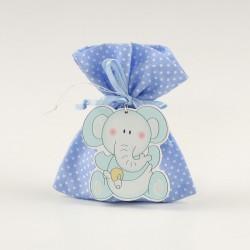Colgante elefante azul con saquito de peladillas